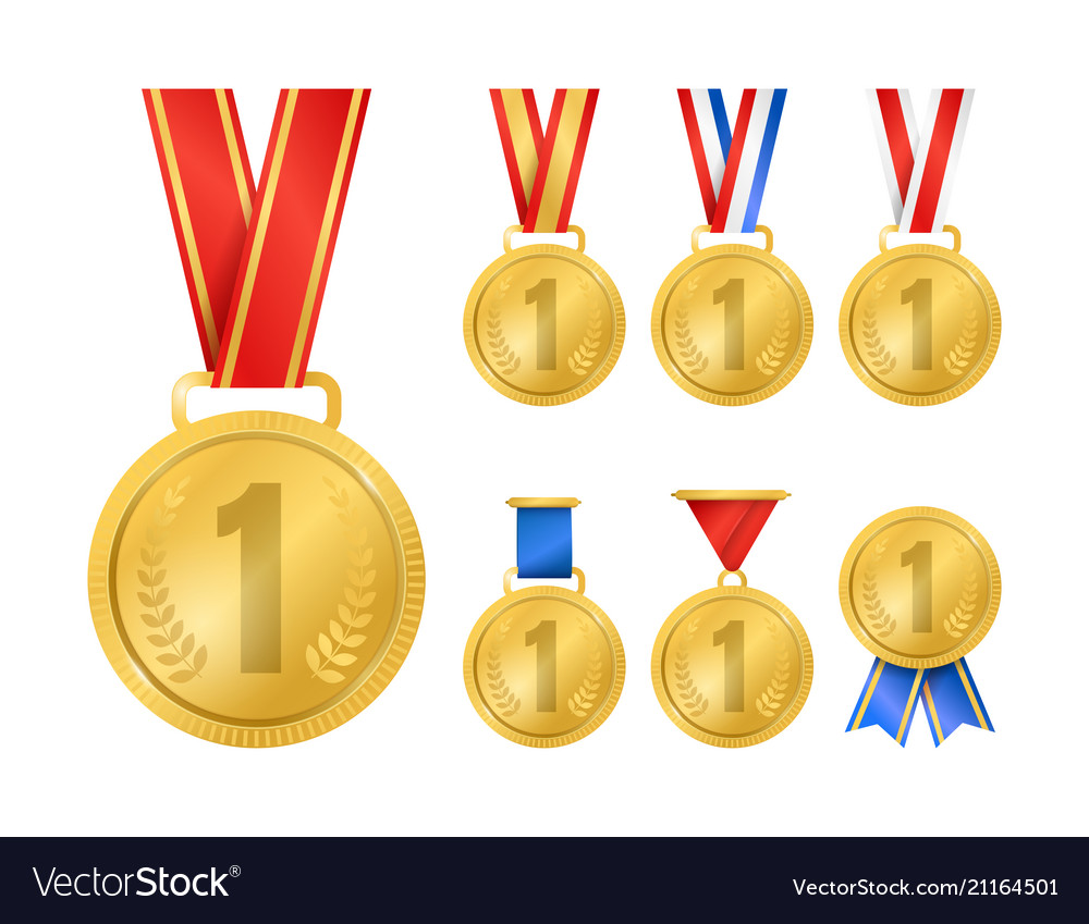 Realistic detailed 3d champion gold medals set