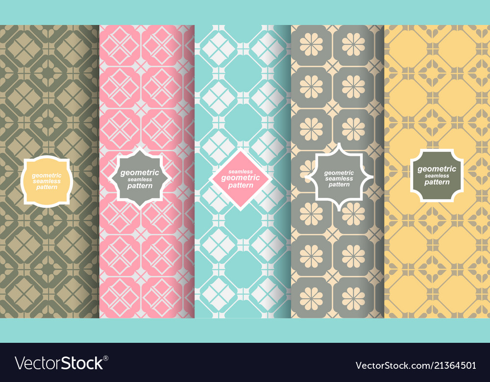 Retro style different seamless patterns