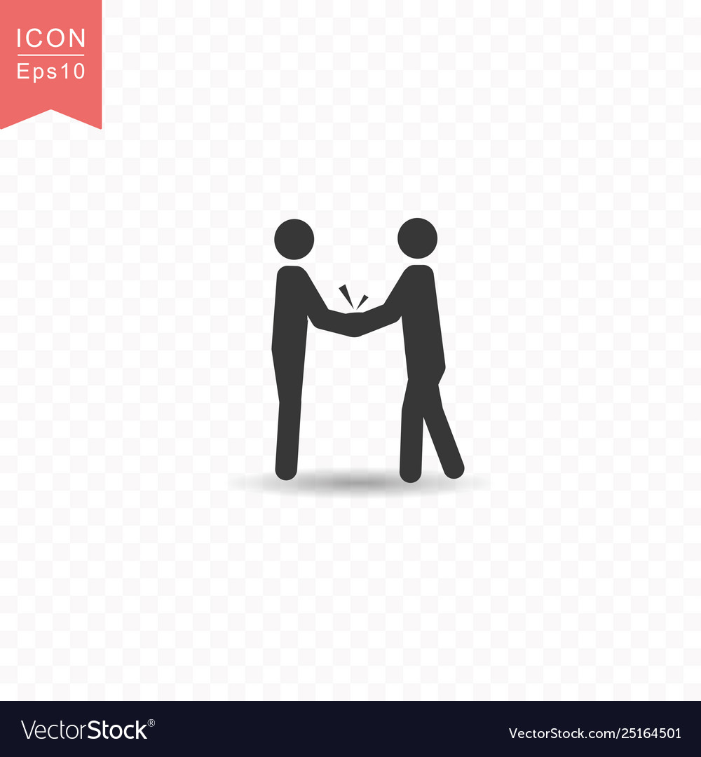Stick figure two business people do handshakes