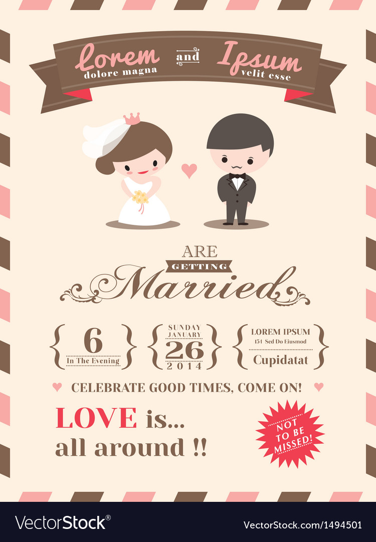 wedding invitation card template royalty free vector image