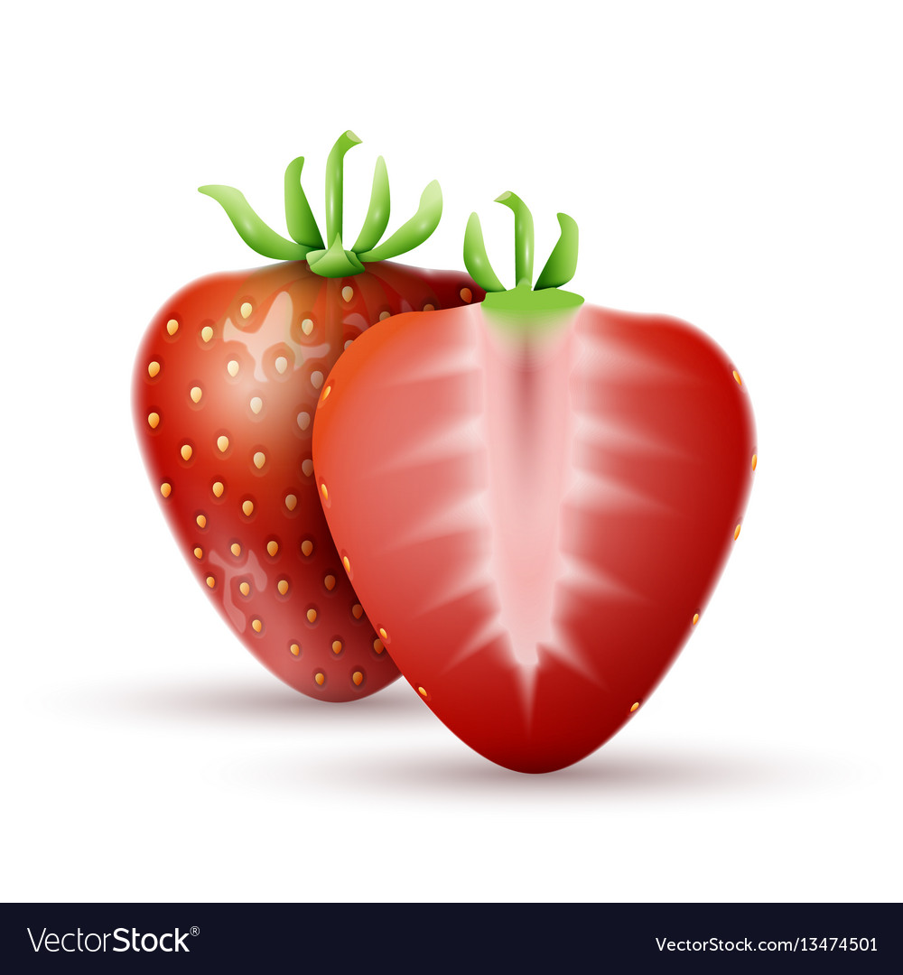 Whole strawberry and a half strawberry