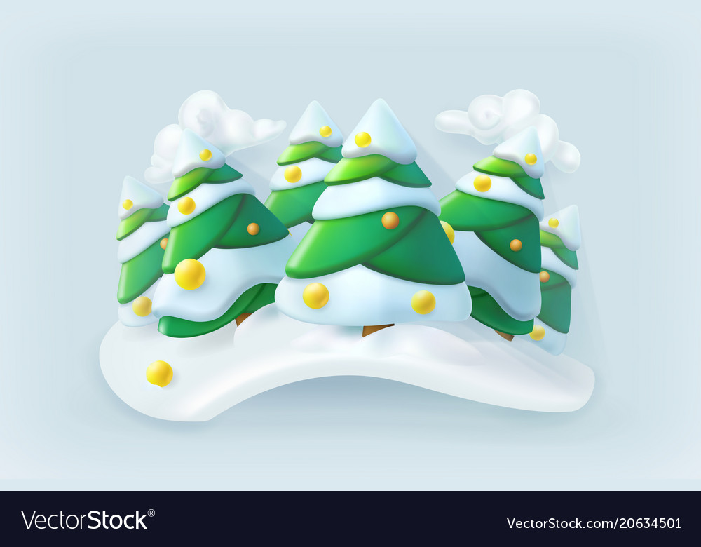 Winter forest christmas icon