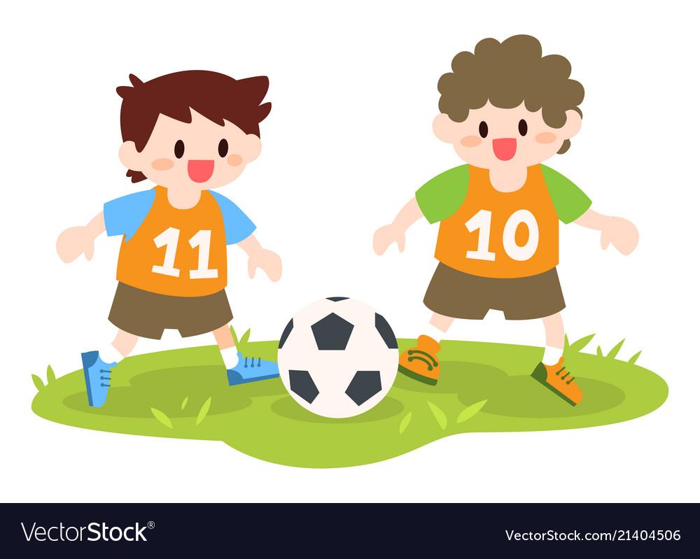Children little boys playing soccer football