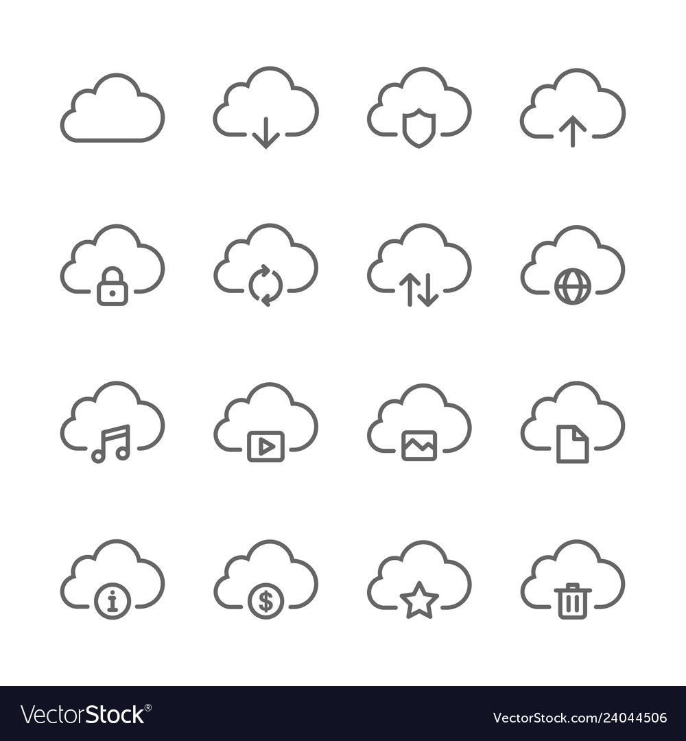 Cloud and network icons set