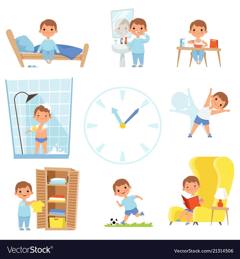 Daily routine kids making various cases in all vector image
