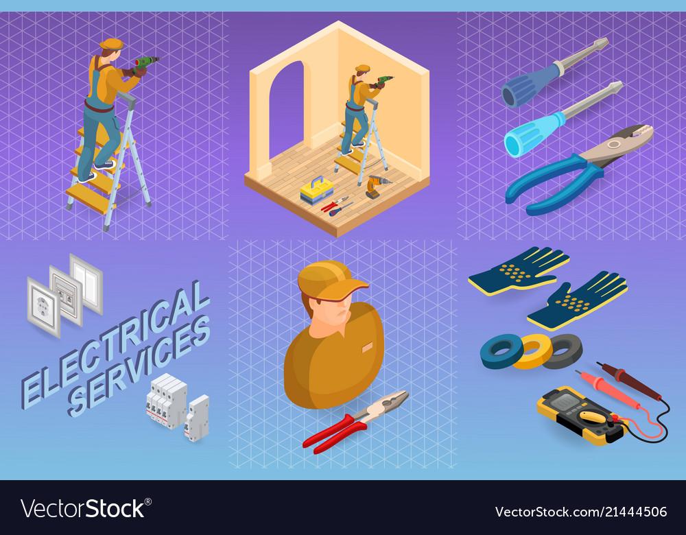 Electrical services isometric concept worker