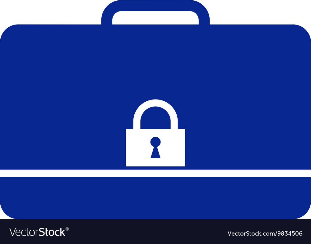 icon of secured briefcase royalty free vector image