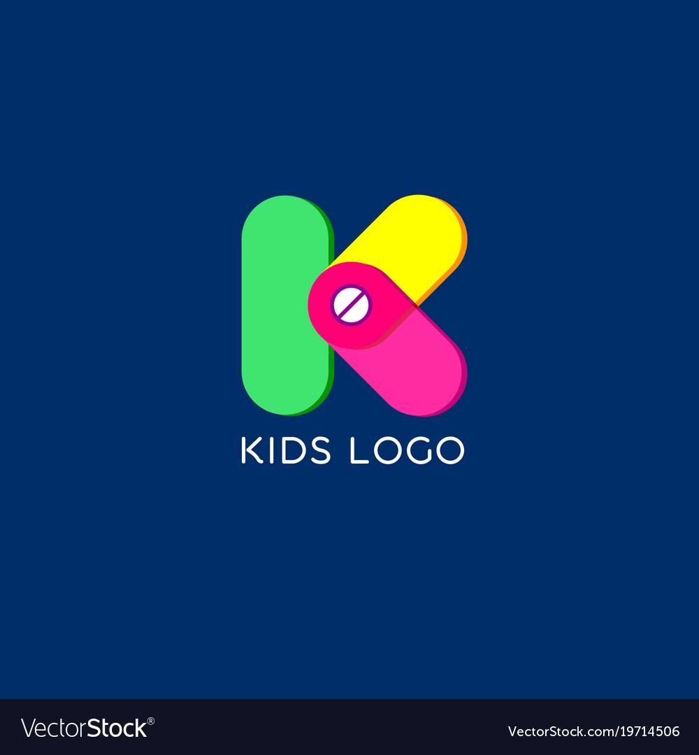 K monogram kids emblem logo
