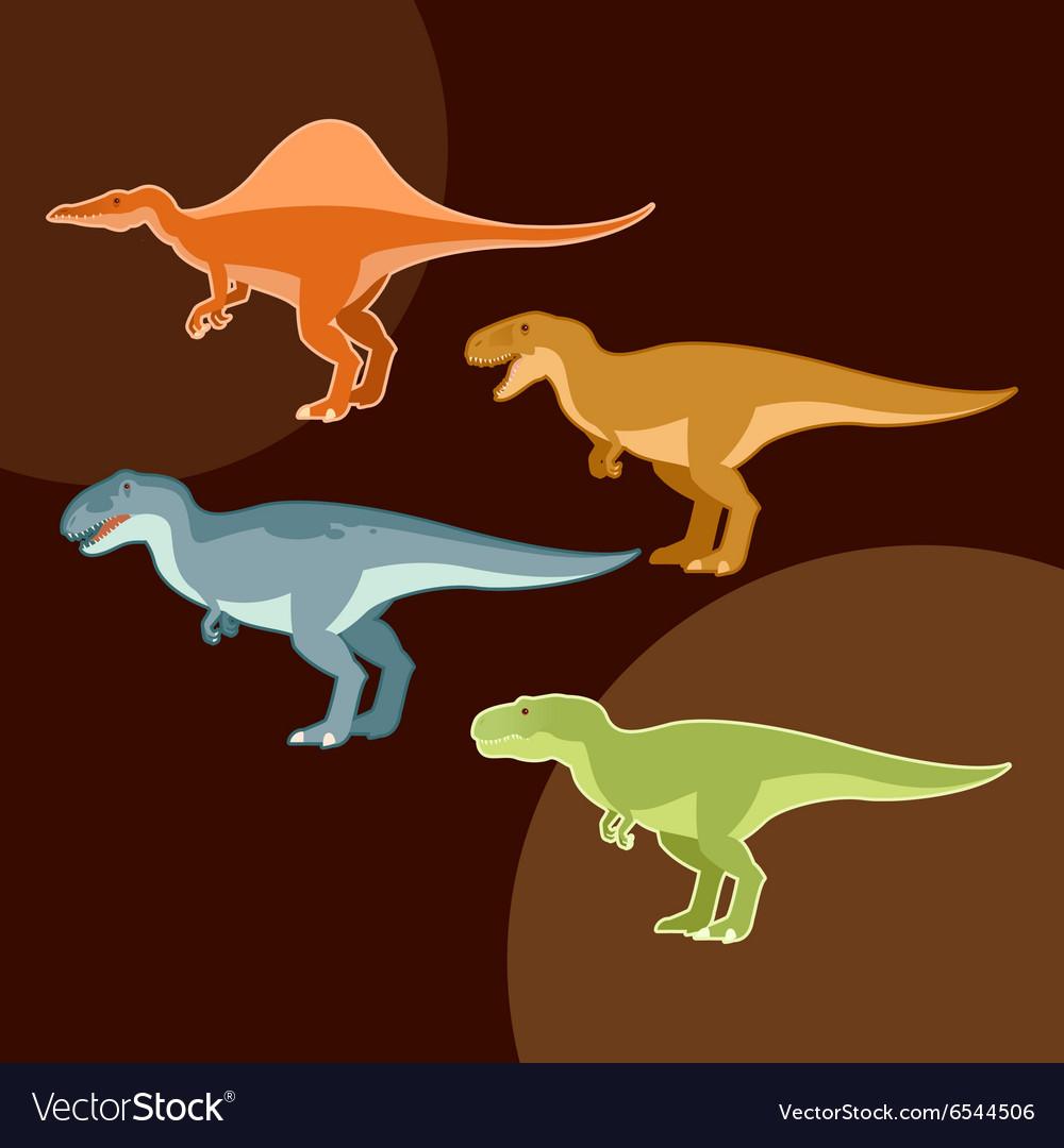 Set of carnivores dinosaurs