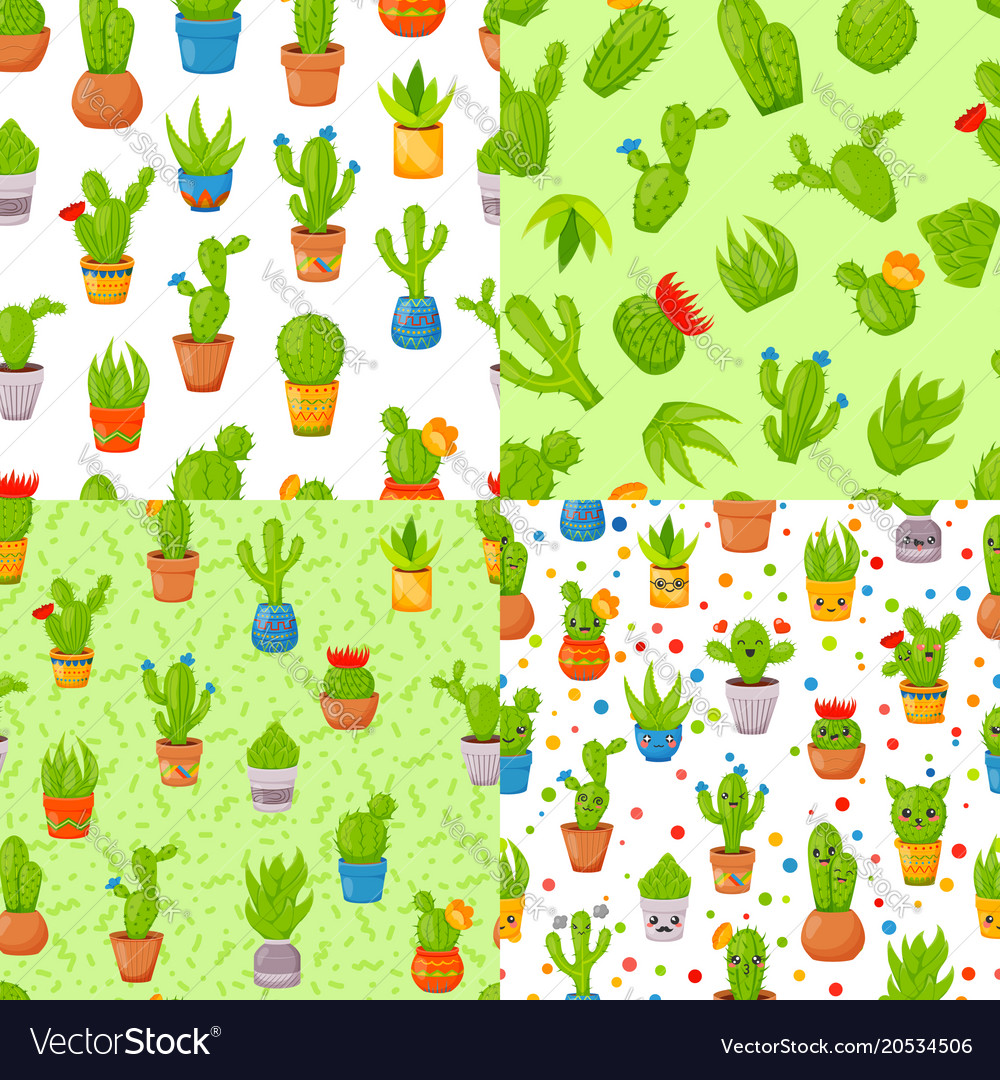 Set of four seamless patterns with cactuses and
