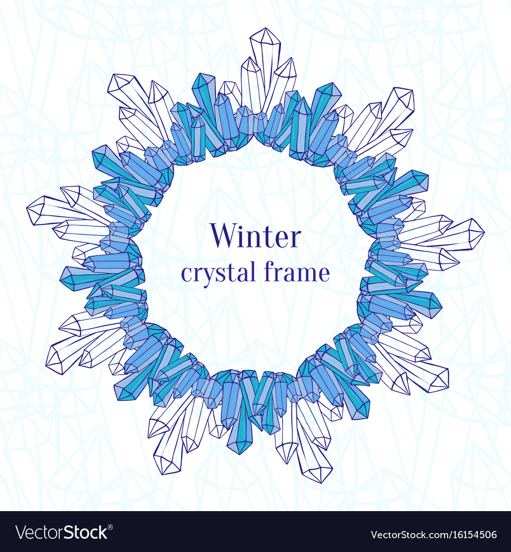 Snowflake frame blue ice crystals decoration