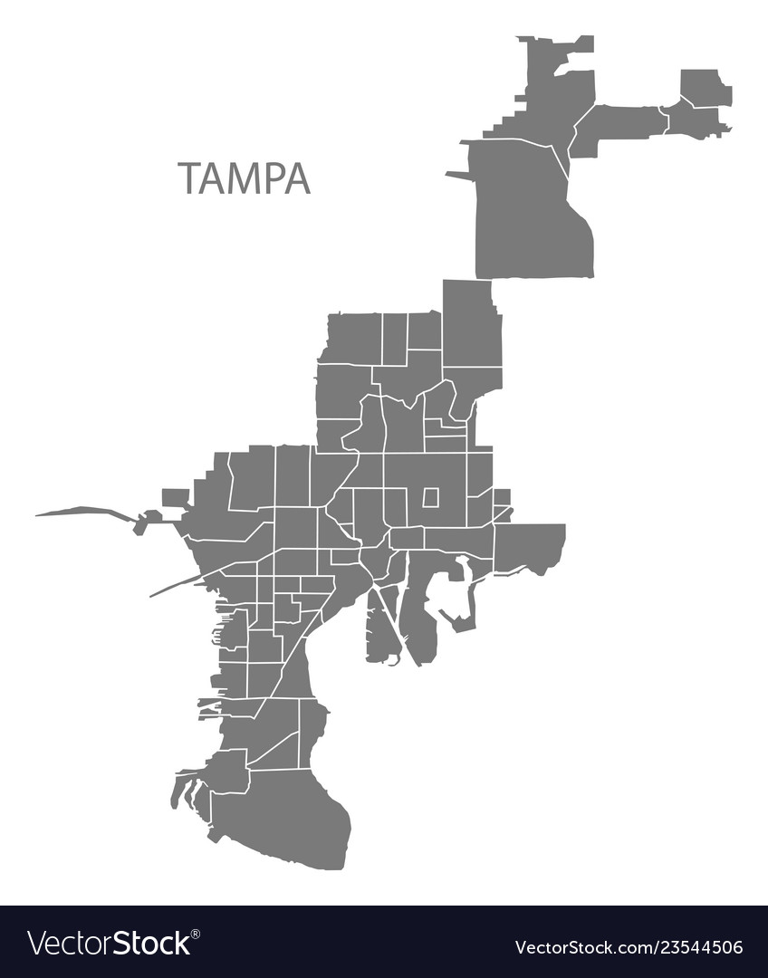 Tampa florida city map with neighborhoods grey Vector Image on