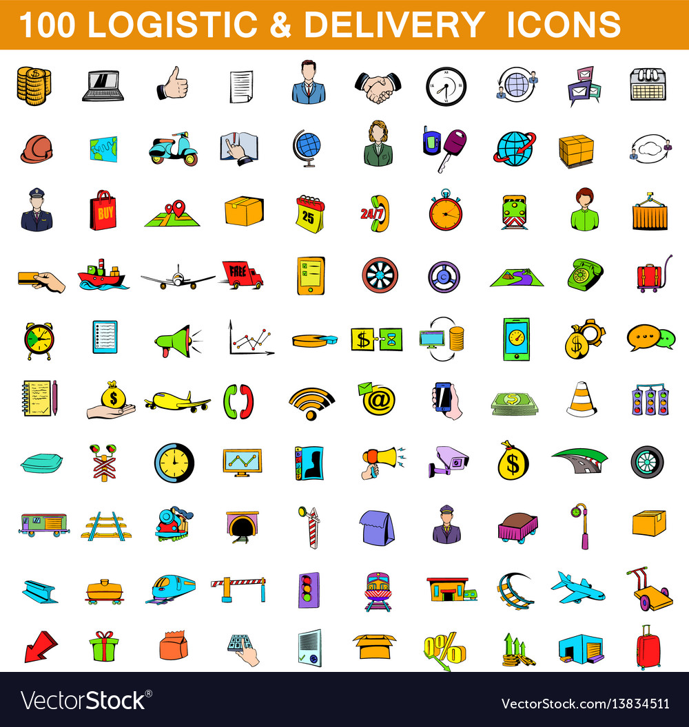 100 logistic and delivery icons set cartoon style