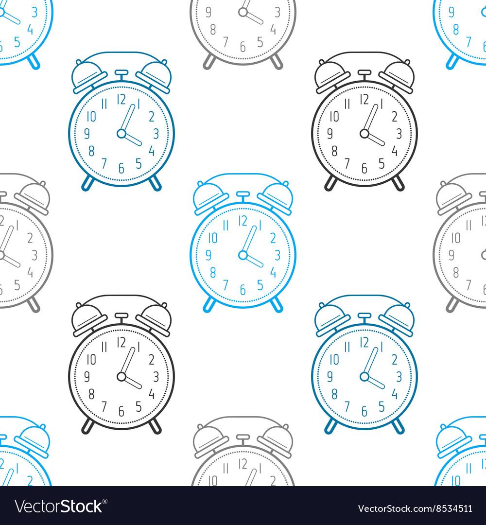 Alarm clock flat linear icon Seamless pattern