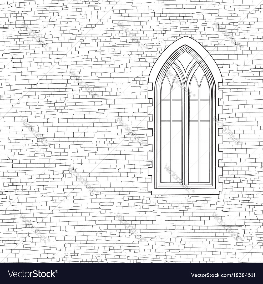 Ancient Brick Wall Background With Gothic Window Vector Image
