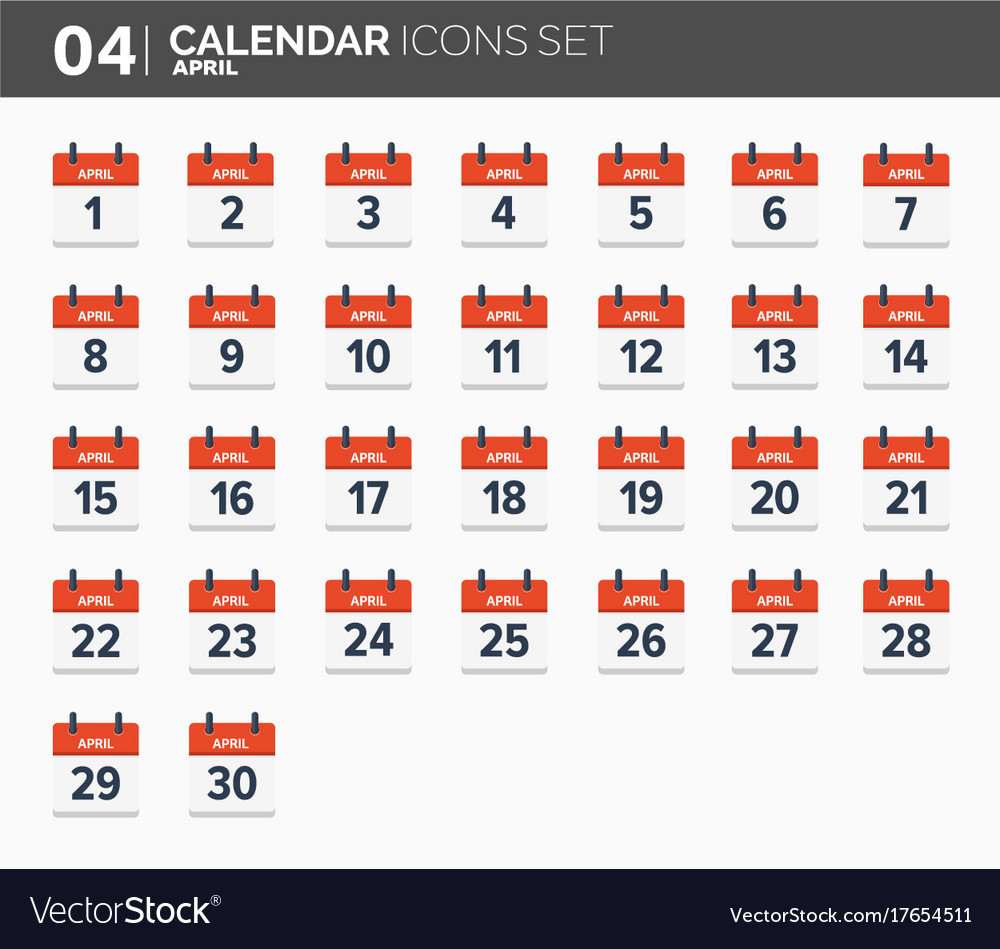April calendar icons set date and time 2018