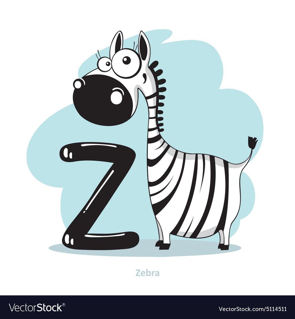 Cartoons Alphabet - Letter Z with funny Zebra
