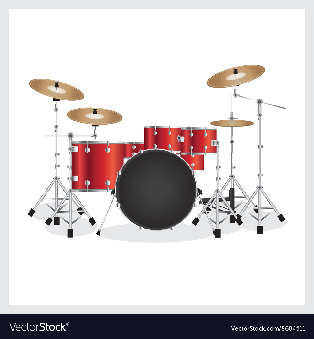 Drum Set Red Royalty Free Vector Image Vectorstock
