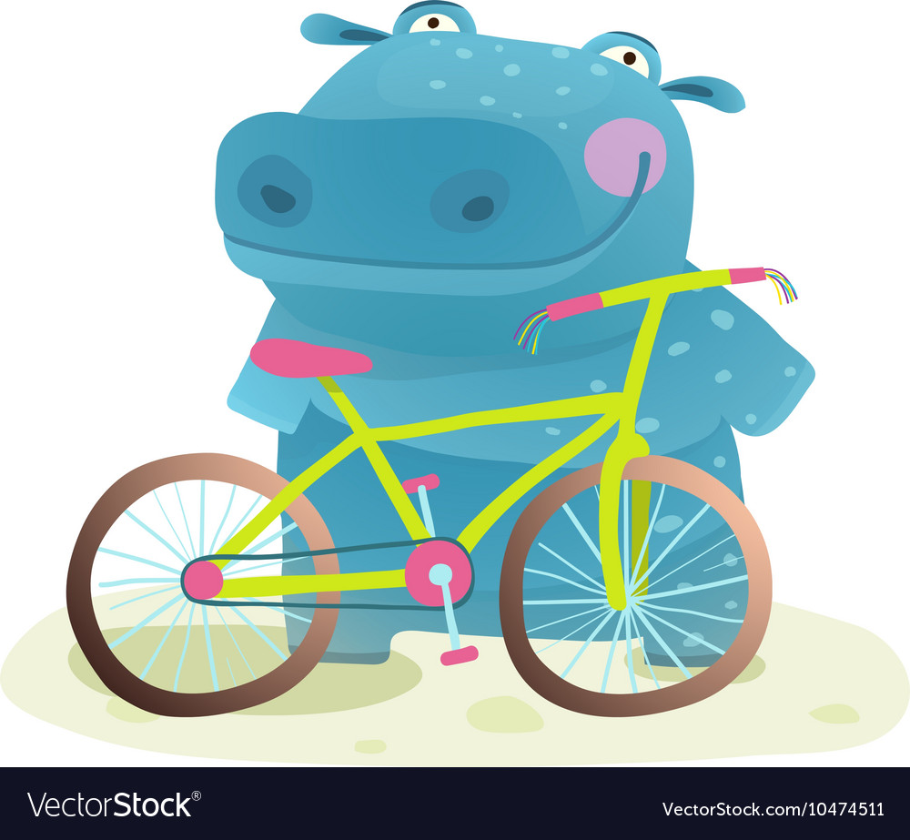 Kid Cute Hippo with Bicycle Childish Cartoon
