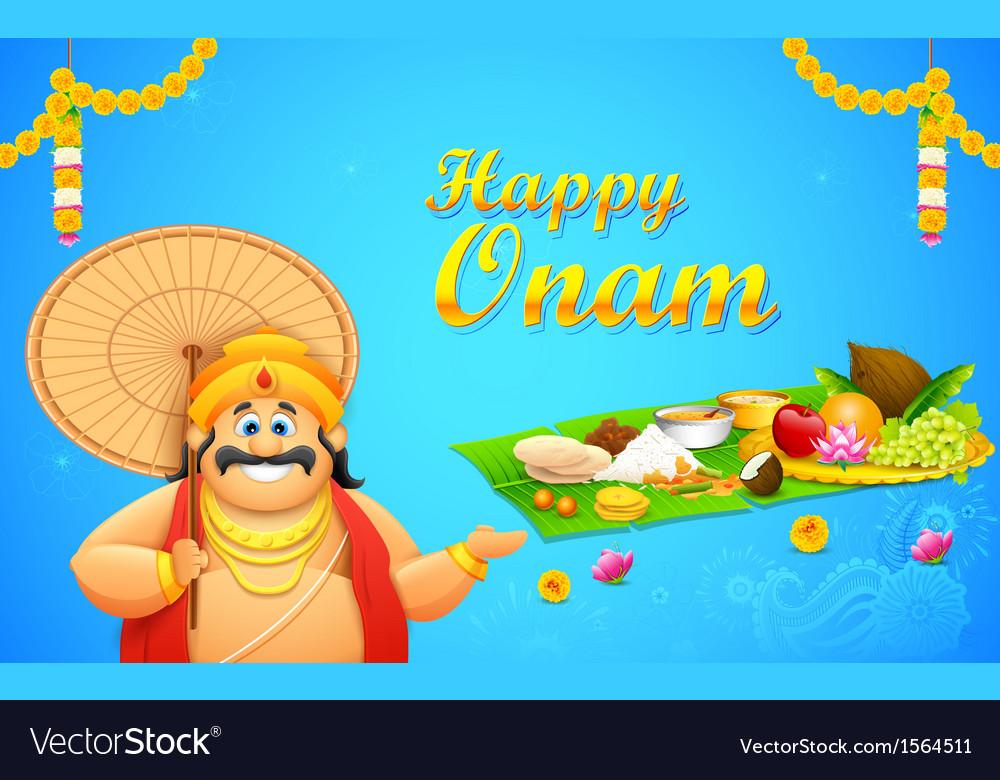 King Mahabali in Onam background vector image