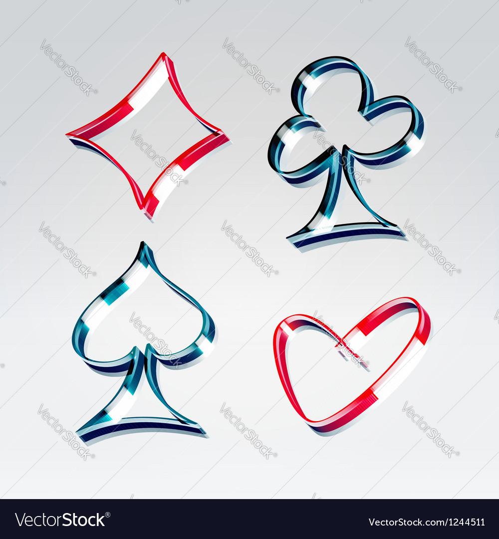 Playing gambling cards symbols vector image