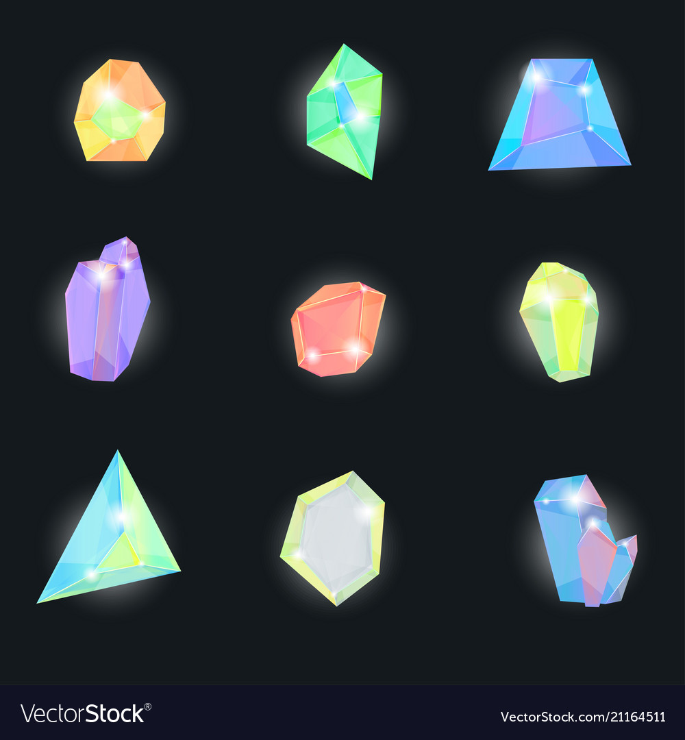 Realistic detailed 3d color crystal stone set vector image