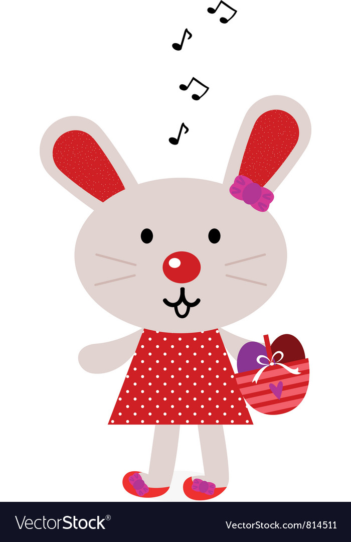 Red Easter Singing Bunny Royalty Free Vector Image