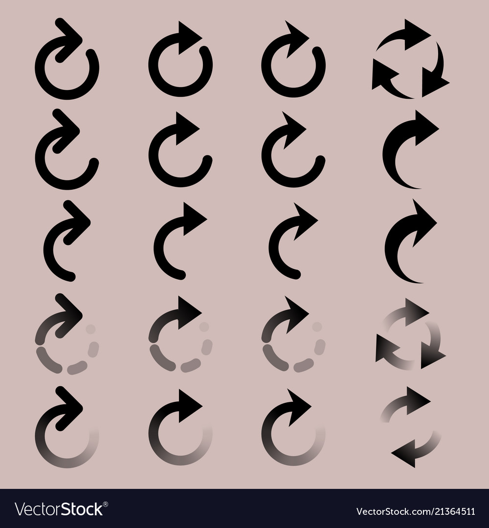 Set of rounded arrow simple icons