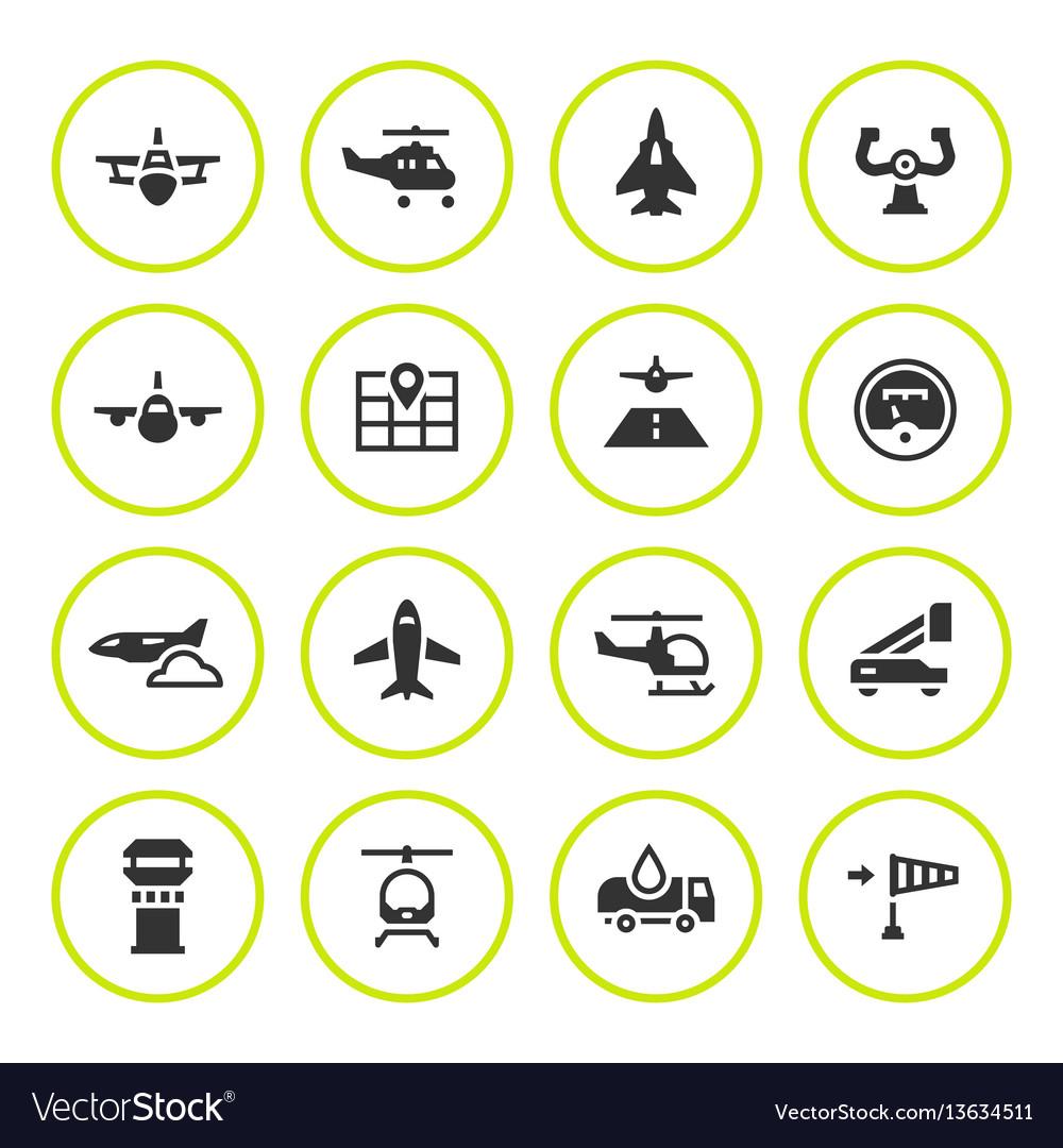 Set round icons aviation