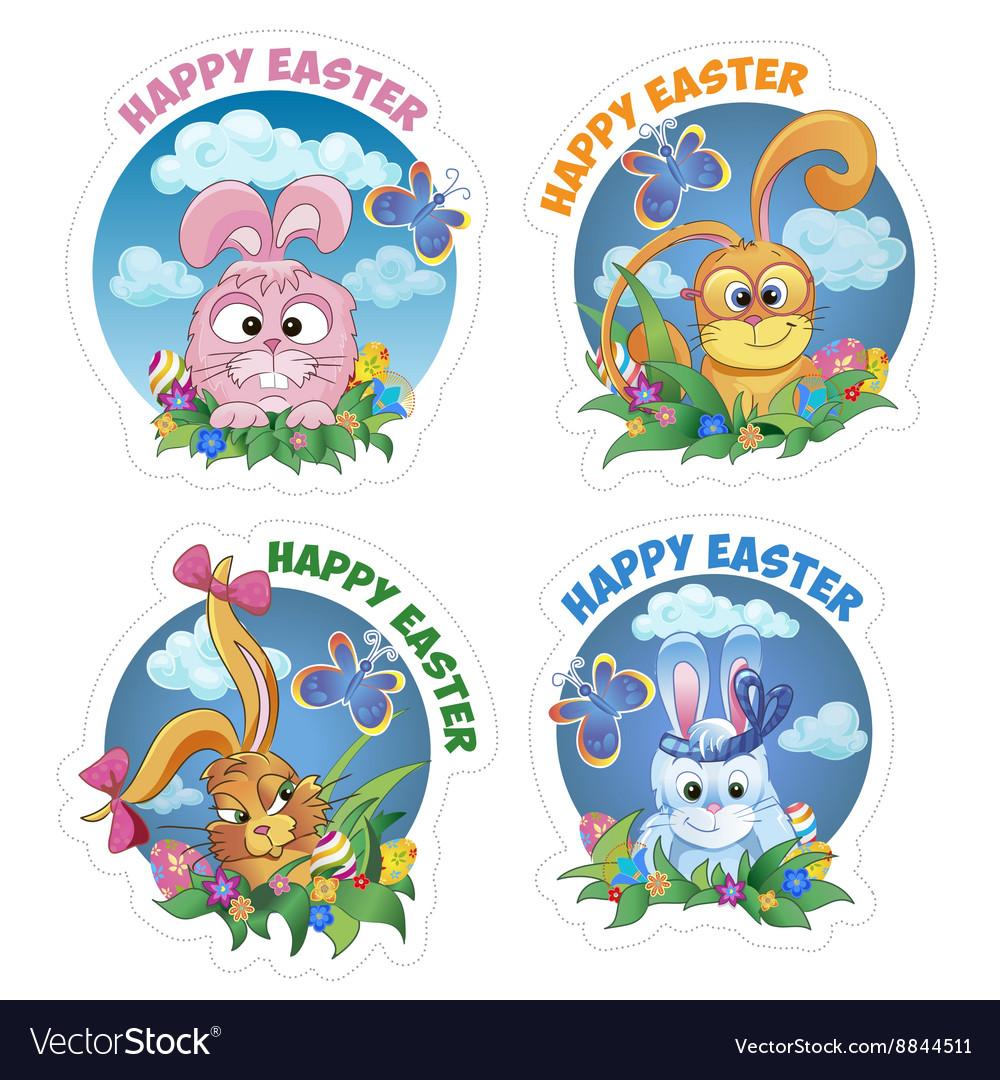 Set sticker with rabbit vector image