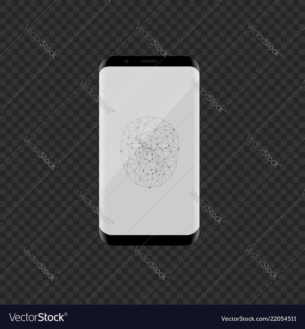 Smartphone with face scan icon