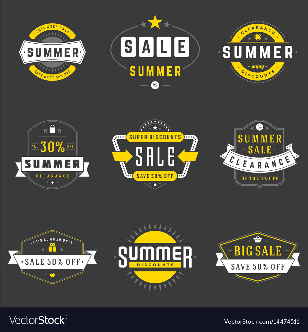Summer season sale badges and tags design