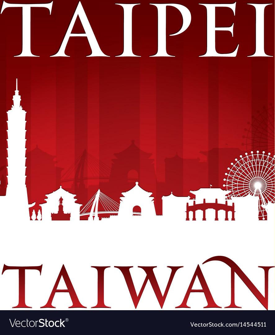 Taipei taiwan city skyline silhouette red
