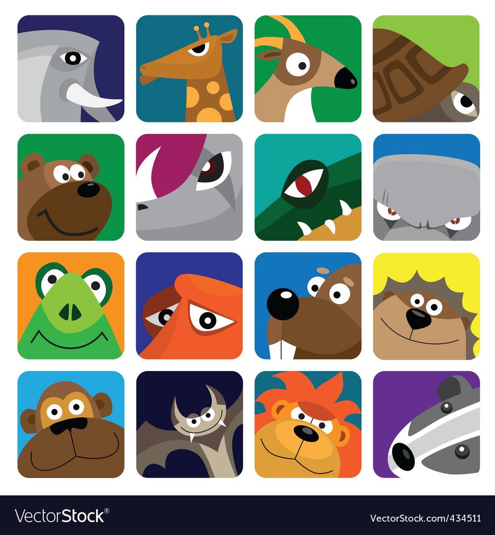Wildlife animals set icon vector image