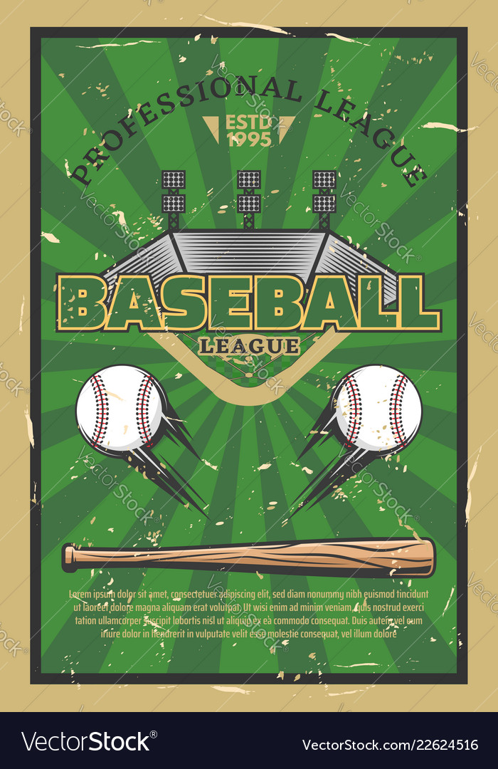Baseball game stadium field with balls and bat