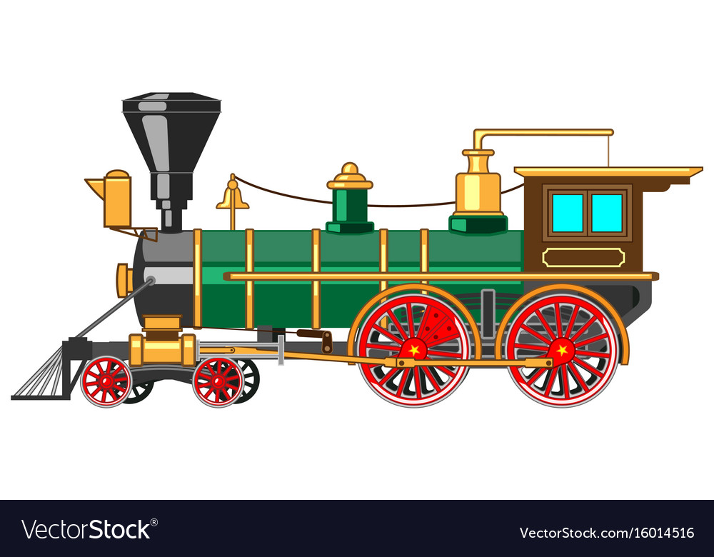 Bright Cartoon Steam Locomotive Royalty Free Vector Image