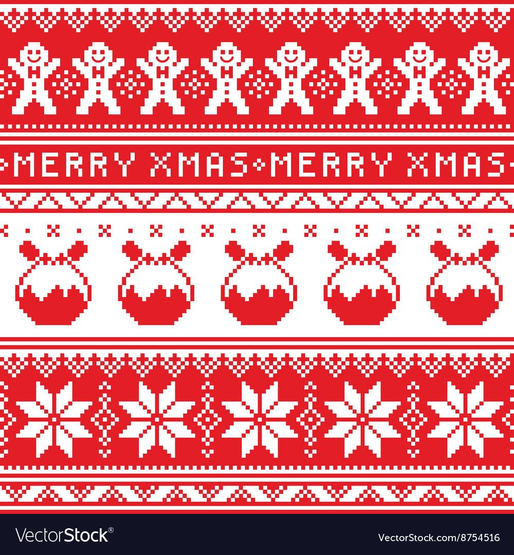 Christmas Sweater Pattern.Christmas Jumper Or Sweater Seamless Pattern Vector Image