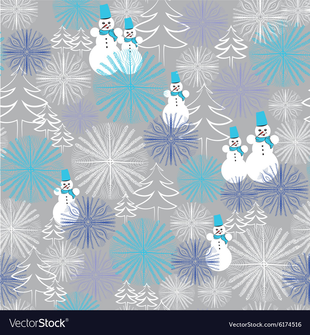 Christmas seamless pattern with snowman and