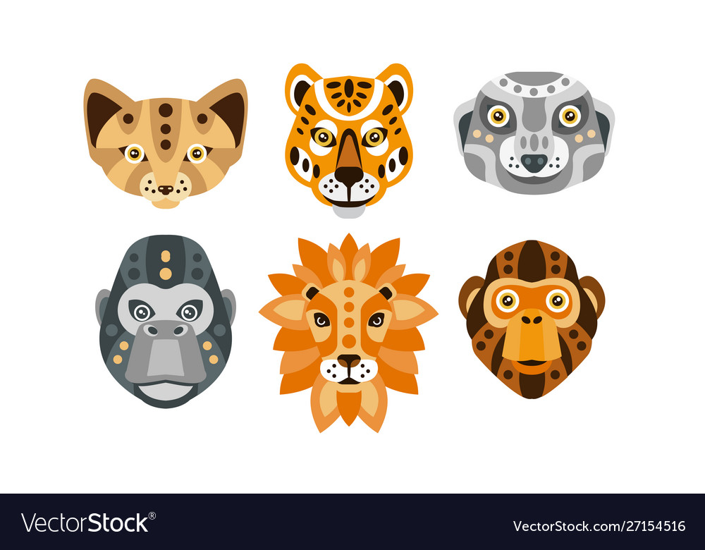 Collection animal heads with tribal ethnic