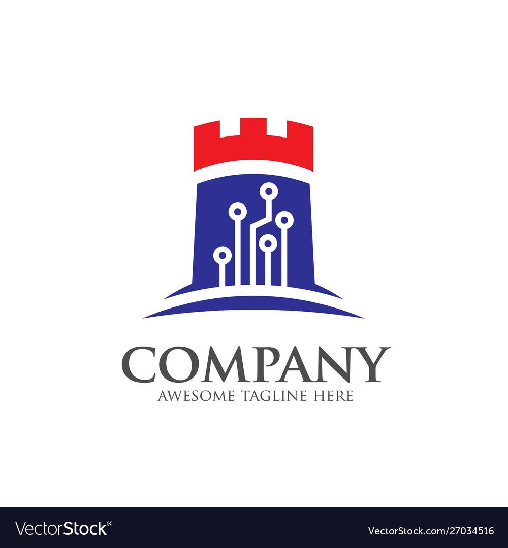 Creative logo castle tech