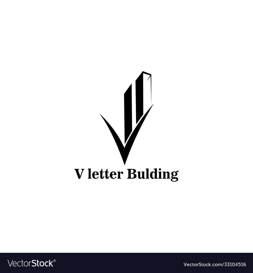 Letter v logo black building design template