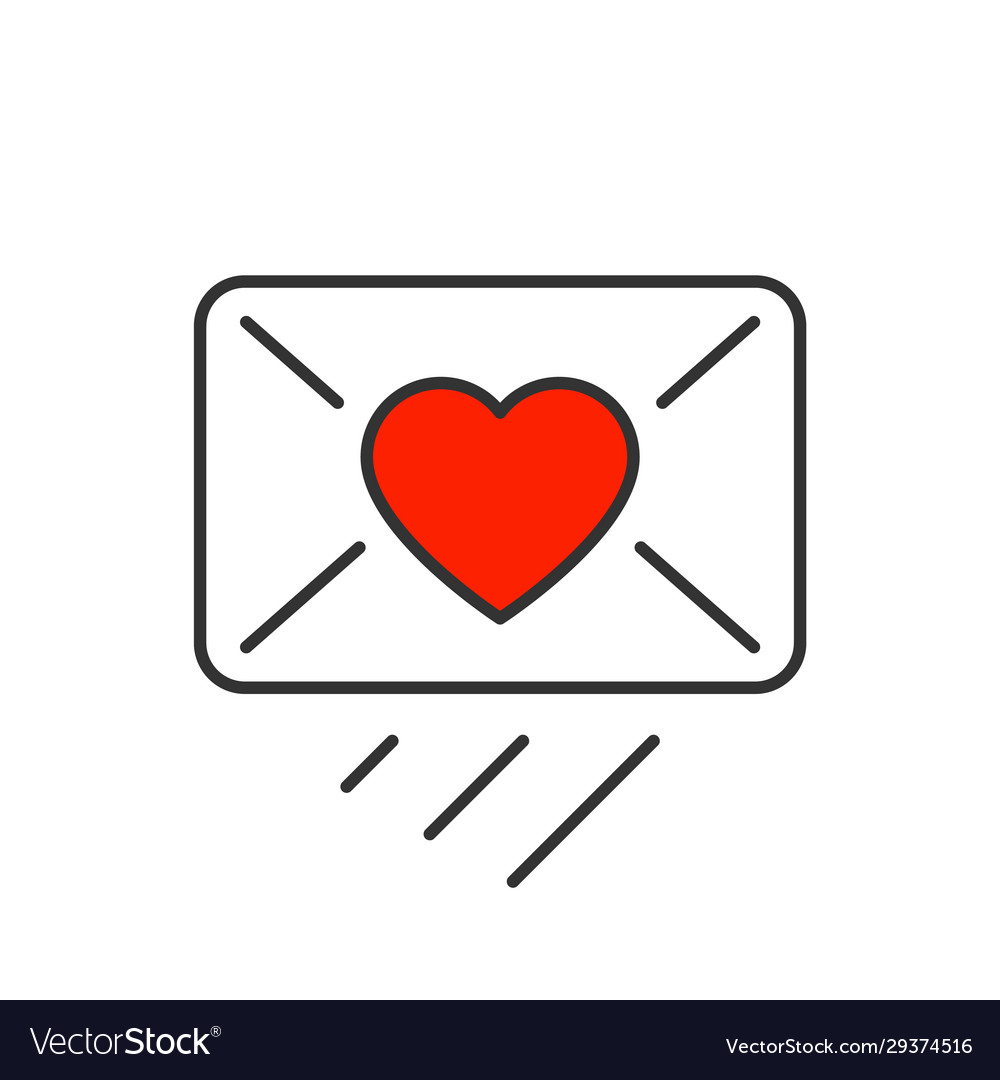 Love message sendind line icon on white background