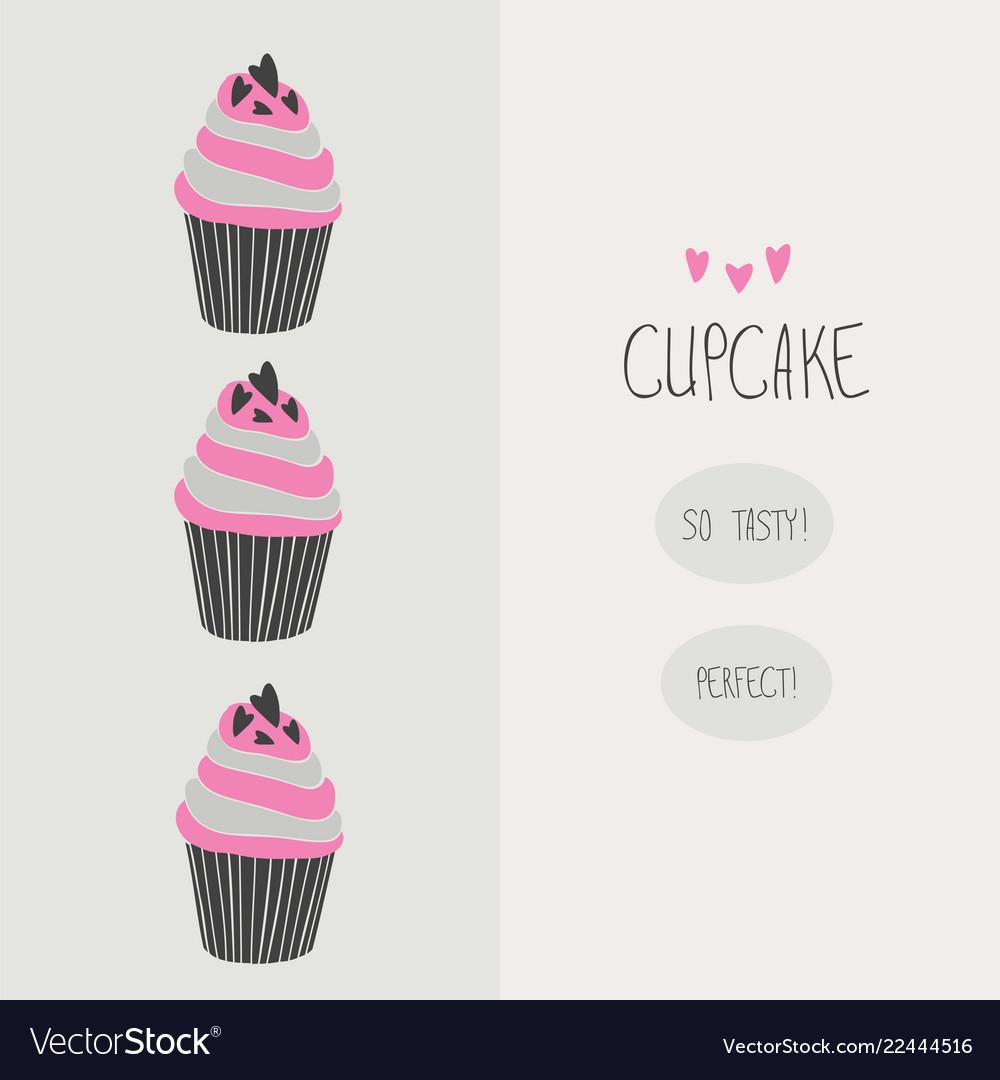 Lovely beautiful yummy cartoon cupcake