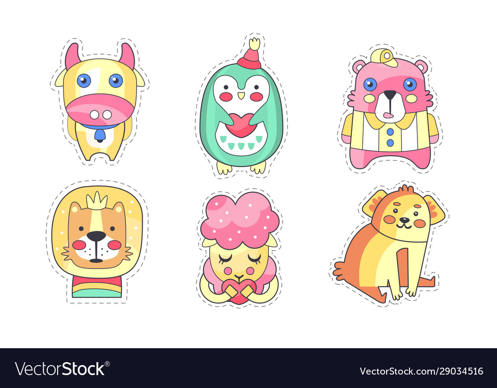 Lovely different animals collection cute colorful