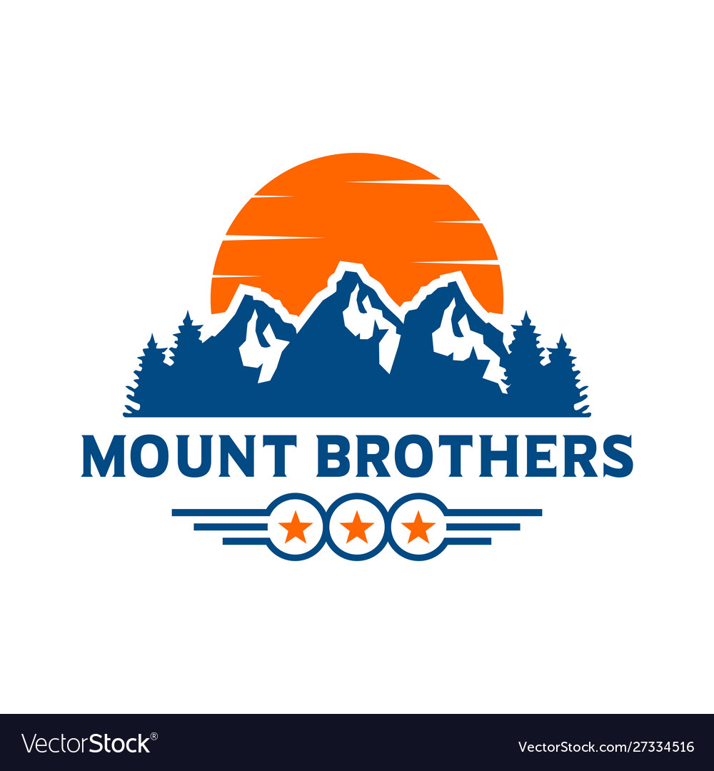 Mountain landscape emblem logo design