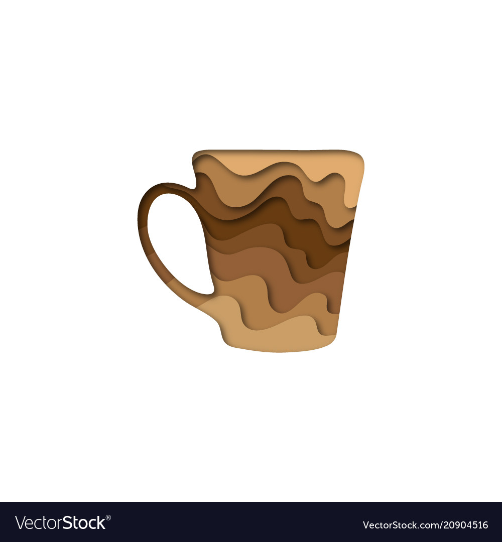 Paper cut shape cup of coffee 3d origami