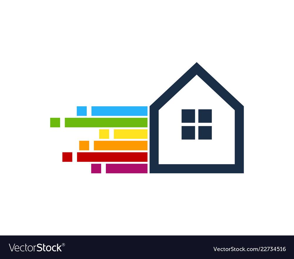 Pixel art house logo icon design