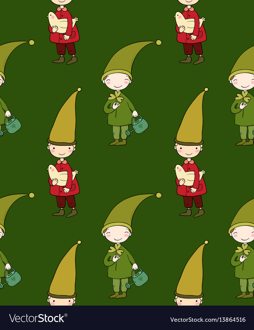Seamless pattern with cute gnome and bird