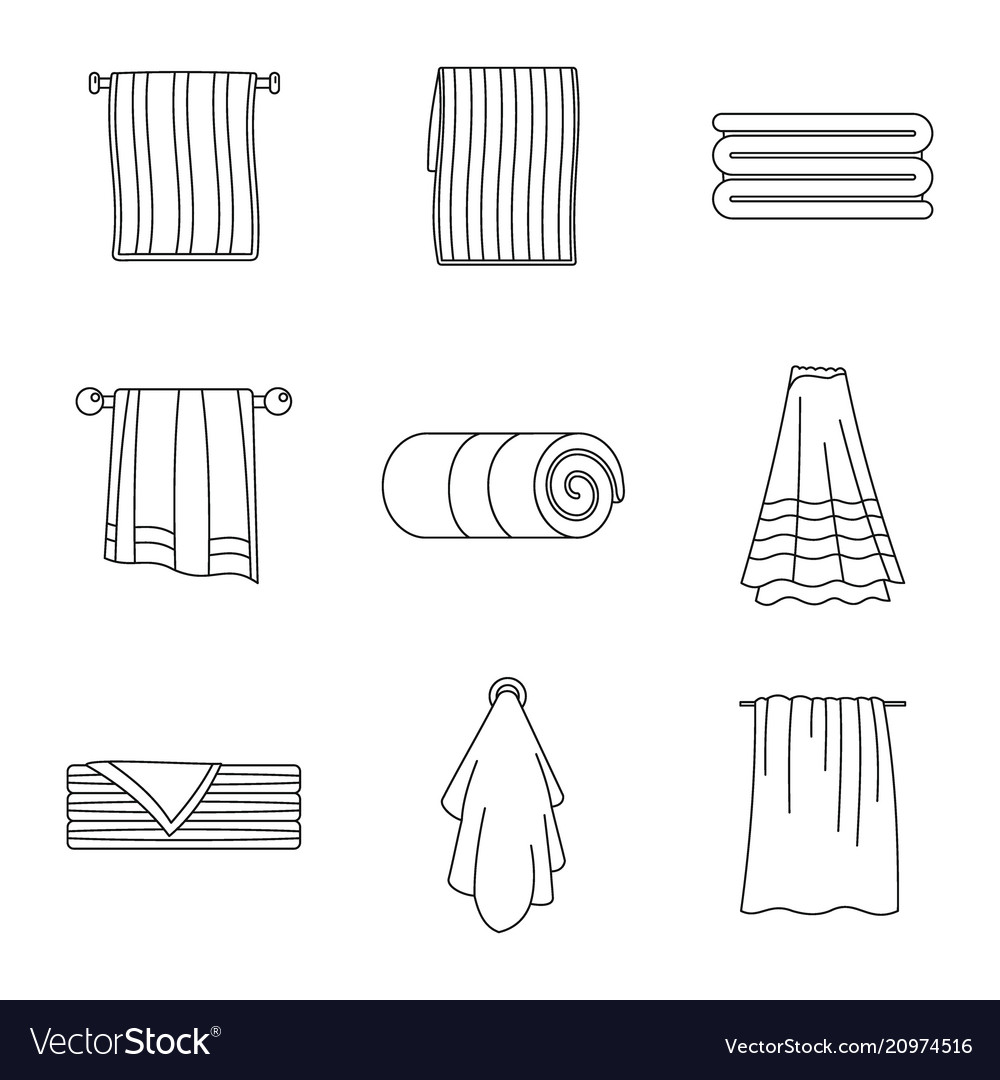 Towel hanging spa bath icons set outline style