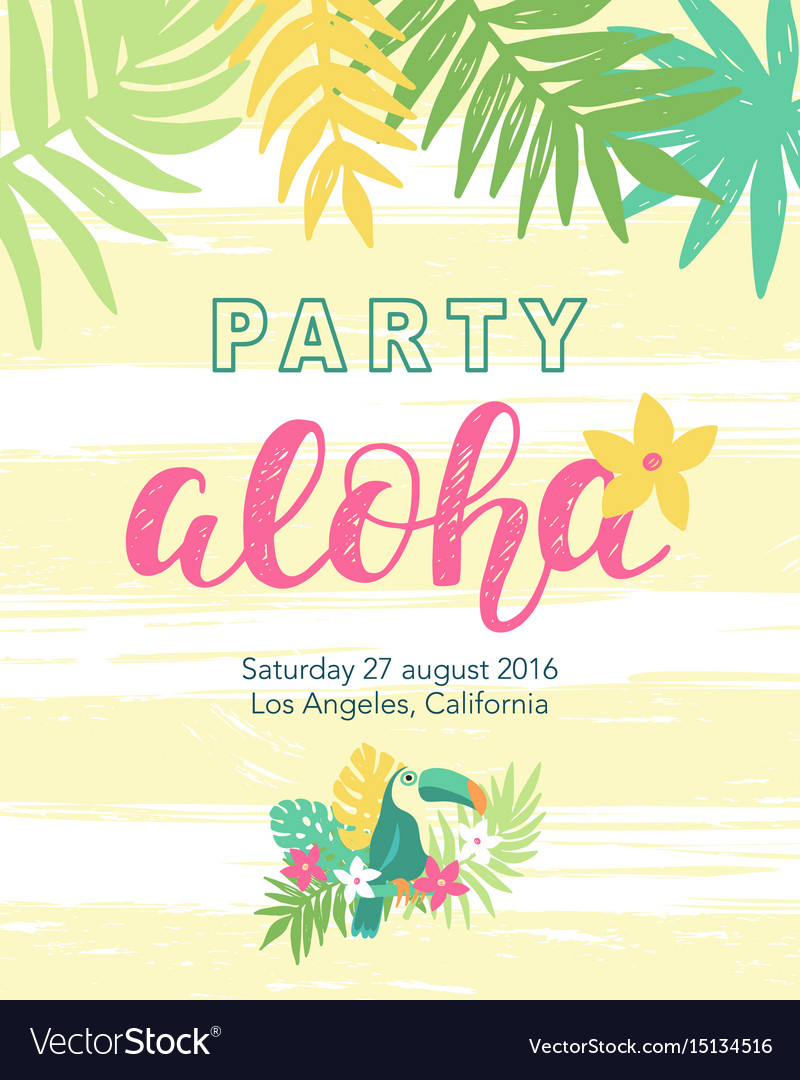 Tropical Beach Party Banner Template Royalty Free Vector